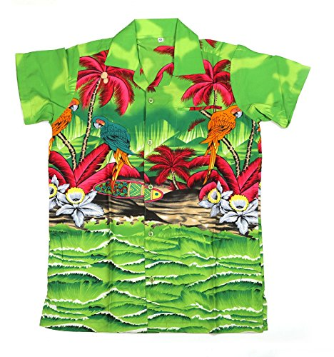 Camisa-hawaiana-para-hombre-diseo-de-loros-en-el-centro-con-loro-para-la-playa-fiestas-verano-y-vacaciones-multicolor-verde-Talla-nica