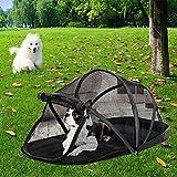 Ducomi Hundehütte, tragbar und faltbar, für kleine Hunde, mit weichem und warmem Futter – für Reisen, Transport von Haustieren und Haustieren, Fronttür mit Reißverschluss