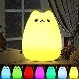 Veilleuse LED , omitium LED Chat Veilleuse Silicone Veilleuse de Bébé Portable Enfant Veilleuse avec 7 Couleurs de Nuit Lampe