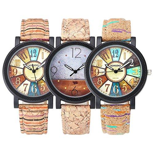 JSDDE Uhren,Retro Stil Tarnung Farbig Streifen Armbanduhr Vintage Damenuhr Holz Kork Muster PU Lederband Analog Quarzuhr - 6