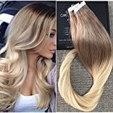 Full Shine 24 Pulgada 20 Piezas 50 Gram Per Package Color #6 And Color #613 Blonde Ombre Remy Tape Hair Extensions de Pelo Natural Con Banda Adhesiva
