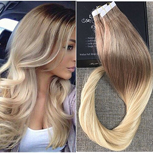Full Shine 14 Zoll 20 Stuck Ombre Haarfarbe #6 Fading to #613 Blonde Two Tone Balayage Hair Dye Pu Tape Hair Skin Weft Extensions Haar Verlangerung Tape on Echthaar