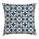 "Alfreen 18""X18"" Traditional House Decor Housse de Coussin Oreiller, Portuguese Ceramic Tilework Building Artisan European Inspired Print, Decorative Square Accent Pillow Case, Royal Blue"