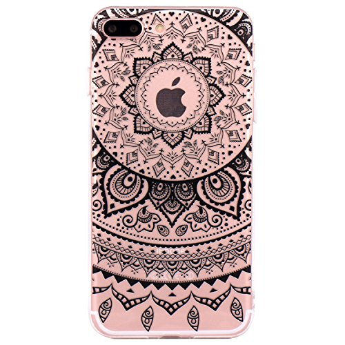 iPhone 7 plus Cover, JIAXIUFEN TPU Gel Protettivo Skin Custodia Protettiva Shell Case Cover Per iPhone 7 plus (2016) - Black Circle Flower Tribal Mandala