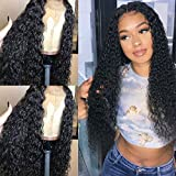 Andria Hair Curly Wigs Lace Front Wig Lace Front Perücken Wet and Wavy Synthetic Black Loose Curly Wigs Heavy Density Glueless Lace Wigs for Women Synthetic Wigs(26' Black Curly wavy Lace Front Wig)