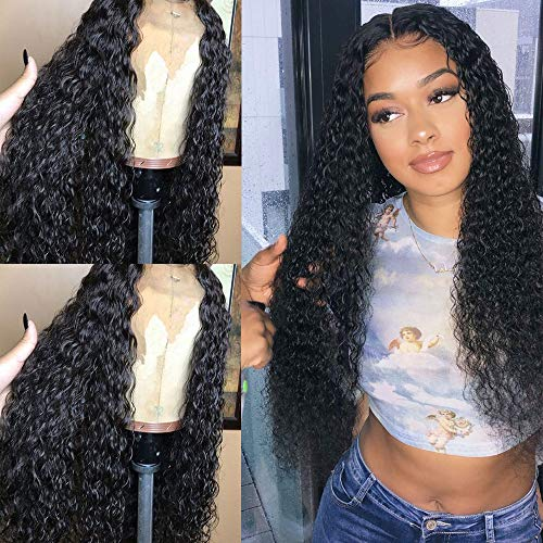 Andria Hair Curly Wigs Lace Front Wig Lace Front Perücken Wet and Wavy Synthetic Black Loose Curly Wigs Heavy Density Glueless Lace Wigs for Women Synthetic Wigs(26
