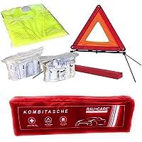 PKW KFZ Verbandkasten Verbandtasche Warndreieck Warnweste Erste Hilfe Kombitasche rot, Erste Hilfe nach DIN 13164…