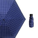 Ai-life Mini ombrello compatto da viaggio, 6 costole mini pioggia e sole ombrello da viaggio con 95% protezione UV, 5 Pieghevoli Compatta Tasca Parasole Ombrello per Donne Ragazze Bambini(Modello di griglia)