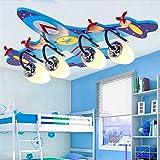 YOLANDON LED-Karton Flugzeug Kinder Decke Wandleuchte, E27 Lampe Spezifikationen, Nachtlicht, Augenschutz, Kinder Zimmer Beleuchtung L58*H42*W 16 CM, Blau Fernbedienung