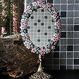 Mirror Espejo- Retro Espejo de un Solo Lado de Metal Pintado a Mano de Metal Escritorio Lindo Princesa Espejo de Maquillaje Espejo de vanidad Welcome