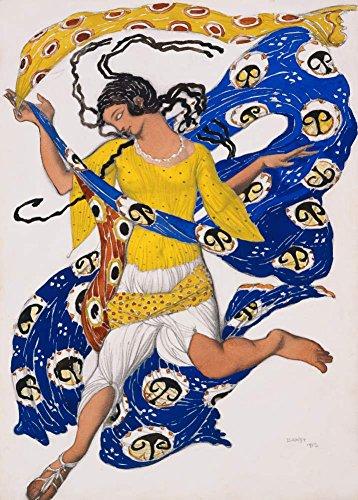 Vintage Ballett Leon Bakst Kostüm Design für Anna Pawlowa für die Butterfly 250gsm, Hochglanz, A3, vervielfältigtes Poster