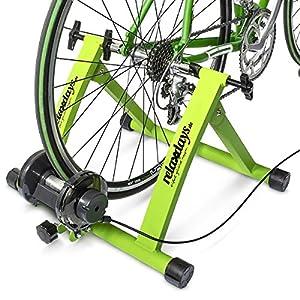 Relaxdays 10018322 - Bicicleta estática, convierte bicicleta común a estática, color verde, talla 54 x 46 x 20 cm