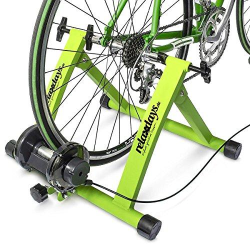 Preisvergleich Produktbild Relaxdays Rollentrainer Inklusive Schaltung 6 Gänge für 26-28 zoll bis 120 kg Belastbar Indoor Fahrradfahren Stahl, Grün, 10018322_53