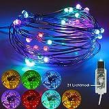 GEYUEYA Home LED String licht, Led Lichterkette 50 LEDs 5M Silbernedraht, 31 Modi IP65 Wasserdicht USB Stimmungslichter Dekoration Beleuchtung für Innen und Außen DIY Deko Party Hochzeit Patio(Bunt)
