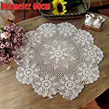 kingpo Lace Tablecloth - Handmade Round Lace Crochet Tablecloth , Runde Tischdecke Elegante Blumenmuster - perfekte Geburtstagsfeiern, Hochzeitsempfänge, Baby-Duschen, Esstische, Weiß