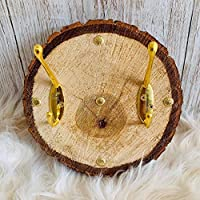Handmade and unique solid wood slice with two hooks rustic farmhouse wall mounted decor art vintage gold effect coaster antique