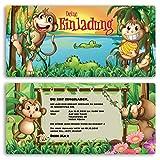 Einladungskarten Kindergeburtstag (10 Stück) Affen Kinder Jungen Mädchen Einladung Einschulung Schulanfang Party Feier Geburtstag Karte gestalten | Inkl. Druck Ihrer persönlichen Texte