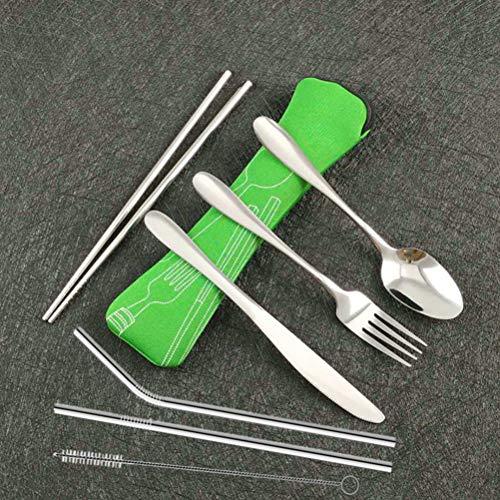 Hihey Camping Besteck, 7 Stück Besteck to Go Travel Besteck Set mit Neopren Bestecktasche, Lebensmittel Verwendet Edelstahl Besteck Outdoor, Campingbesteck (Grün)