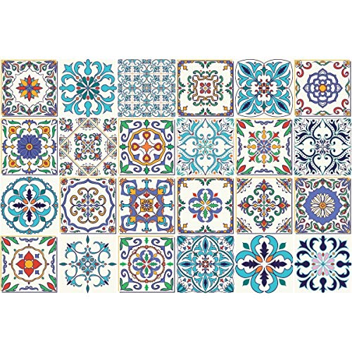Ambiance-Live Piastrelle adesive per Parete,Tipo azulejos,20x 20cm, 24Pezzi, Imitazione Cemento