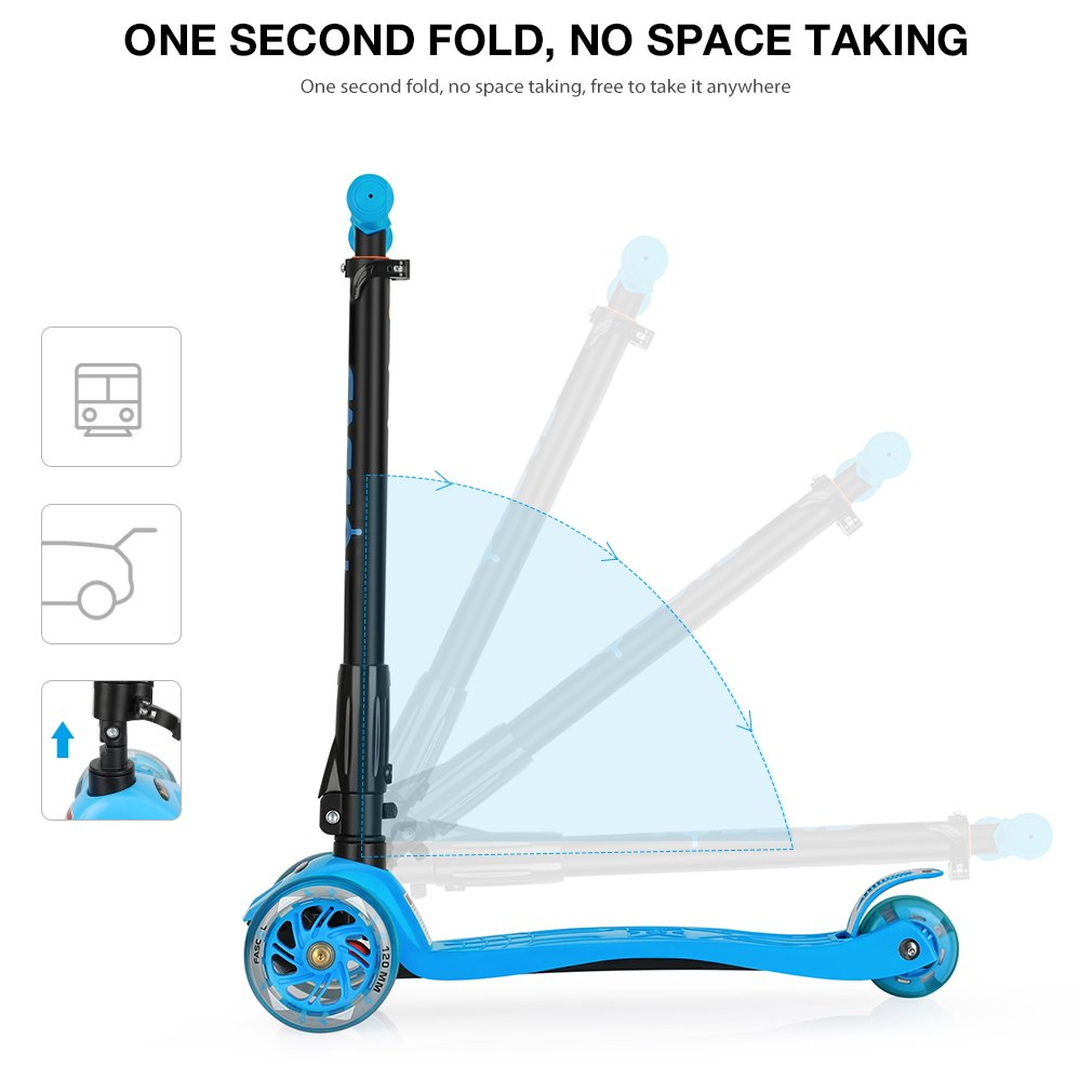 LED Kinder Scooter Kinderroller Cityroller Tretroller Klappbar 3 Räder ab 3 Jahr