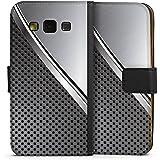 Samsung Galaxy A3 (2015) Tasche Leder Flip Case Hülle Carbon Metall Look