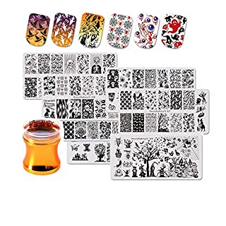 BEAUTYBIGBANG 7 PCS Halloween Nail Art Stamping Plates Set Image Template Stencils + Nail Stamper Silicone Skull Spider Pumpkin Manicure Nail Design