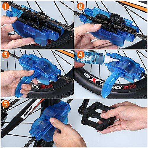 Fahrrad Kettenreinigungsgerät + Fahrrad Kettennieter Set, SYCEES Kettenreiniger mit Bürste und Fahrrad Ketten Entferner für die Kettenreinigung und Kettenentferung von den meisten Fahrrädern (blau + schwarz ) - 7