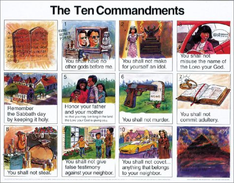 Ten Commandments New International Version: Wall Chart Large 20x26 Inches