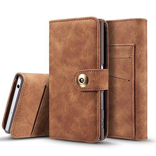 EKINHUI Case Cover Retro Style abnehmbare magnetische Leder Tasche mit großem Capard Card Cash Slots und Secure Niet Gürtelschnalle für Sony Xperia XZ ( Color : Khaki ) Brown