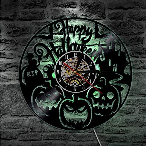 Guokee 1 Stück Halloween Vinyl Uhr Kürbis Party Wanduhr Hand Geschnitzte Schallplatte Uhr Halloween Schatten Kunst Silhouette