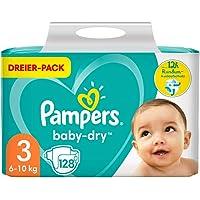 Pampers Windeln Größe 3 (6-10kg) Baby Dry, 128 Stück, Bis Zu 12 Stunden Rundum-Auslaufschutz