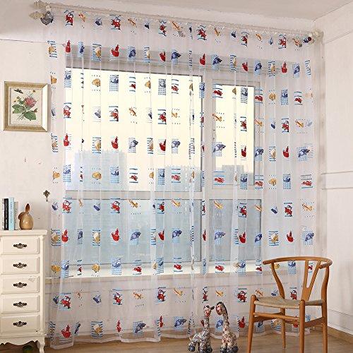 Bambini Tulle-Tenda in Voile plissettata a pannello porta con finestra