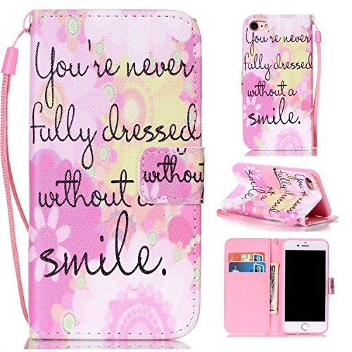 Ooboom® iPhone 5SE Hülle Flip PU Leder Schutzhülle Handy Tasche Case Cover Wallet Standfunktion Bookstyle Karte Halter für iPhone 5SE - Baum Schwarz Smile Pink