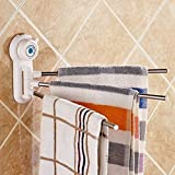 #10: R Dabhi 180 Degree Three Arm Stainless Steel Towel, small utensil, cleaning utilities Bar Rotating Towel Rack Bathroom Kitchen Towel Polished Rack Holder – Multi color