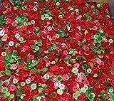 Mini Rot & Grün–Mischung aus kleinen Größen verschiedenen Weihnachten rot und grün Knöpfe für Couture und Handarbeiten Mixte