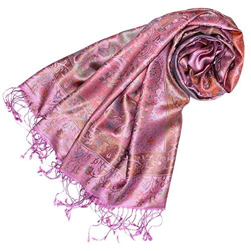 Lorenzo Cana Luxus Pashmina Schal Schaltuch jacquard gewebt 100% Seide Paisley Muster Seidenschal Seidentuch Seidenpashmina mehrfarbig 7807677