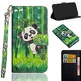 Ooboom BQ Aquaris VS Plus Hülle 3D Flip PU Leder Schutzhülle Handy Tasche Case Cover Ständer mit Trageschlaufe Magnetverschluss für BQ Aquaris VS Plus - Panda Bambus