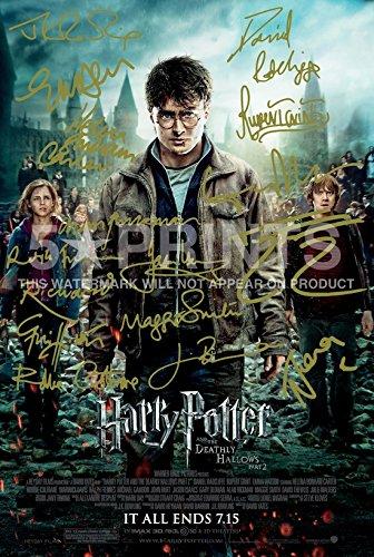 Harry Potter y las reliquias de la muerte, parte 2, firmadas por PP, elenco, Daniel Radcliffe, Emma Watson, Rupert Grint, Gary Oldman, Helena, Bonham Carter, Alan, Rickman, 12x8 pulgadas, póster, foto