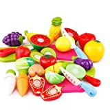 Zaid collections Realistic Sliceable Fruits and Vegetables Cutting Play Kitchen Set Toy (18 pcs Set) with Various Fruits…