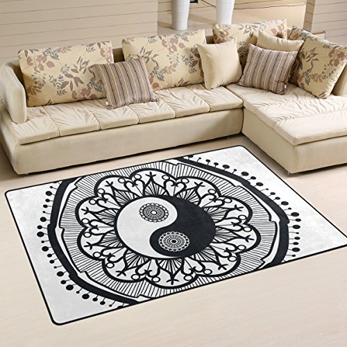 ingbags Super Weich Moderner Mandala Ying Yang, ein Wohnzimmer Teppiche Teppich Schlafzimmer Teppich für Kinder Play massiv Home Decorator Boden Teppich und Teppiche 152,4x 99,1cm