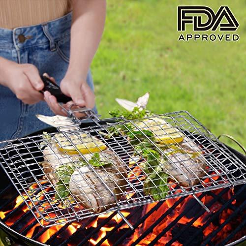 WolfWise Grillkorb Fischbräter, Grill Fischhalter Gemüsekorb Burger Grillwender, mit Abziehbarem Holzgriff, aus 430 Edelstahl