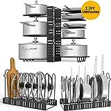 Toplife Porte-casseroles, 2 DIY Méthodes Porte-casseroles Support en Acier Inoxydable Rangement Cuisine avec 8 Compartiments