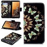 Samsung Galaxy A8 Plus 2018 Coque,Motif Peint Hand Strap Magnetic Clasp PU...
