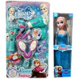 HALO NATION® Frozen Doll Beauty Parlor & Grooming Toy Set for Girls - With 15 Make up Accessories & a Doll too