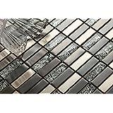 Verre et acier inoxydable mosaïque carrelage en noir et argent. Offre proposée pour l'achat d'un petit échantillon (MT0102 sample)