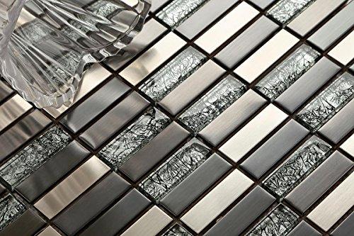 10cm x 10cm modello. Motivo vetro e acciaio inox mosaico piastrelle in nero e argento (mt0102Muster)