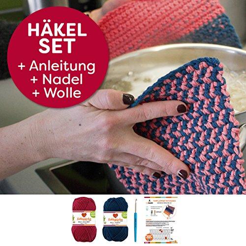 Topflappen Toyokawa Set häkeln Häkel-Set: Häkelanleitung + Häkelnadel + 2x Wolle Lieblingsfarben No.2 für 2 Topflappen + selfmade Label Wollfarben: (Chillirot Marine)
