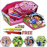 Kieana Kids Princess Dora Designer Colour Box Kit (Multicolour) - Set of 46 Pieces