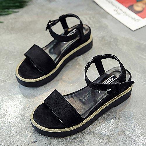 XY&GKSandales femmes femelle All-Match Fond plat sandales d'été pour étudiants Fashion Chaussures de loisirs avec un muffin. Black