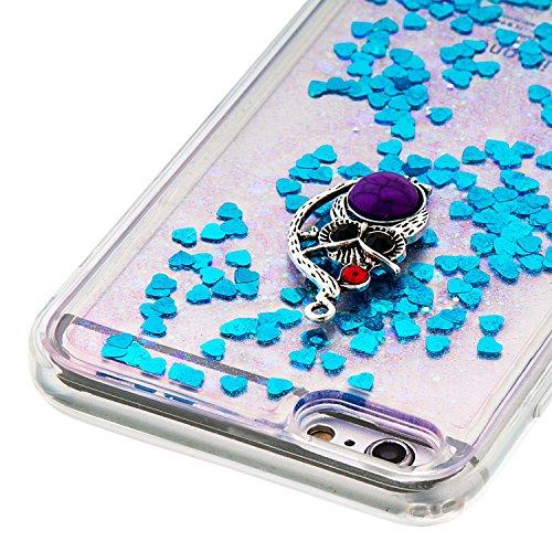 """MOONCASE iPhone 6S Plus Coque, Glitter Sparkle Bling [Owl] Faux Diamant Dessin Motif Liquide Étui Coque pour iPhone 6 Plus / 6S Plus 5.5"""" Soft TPU Gel Souple Case Housse de Protection Or 04 Bleu 04"""